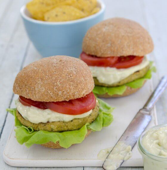 Image of burgers from the Plant-Powered Families: Over 100 Kid-Tested, Whole-Foods Vegan Recipes book