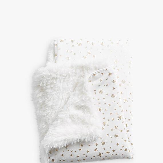 Pottery Barn Kids Metallic Stars Sherpa Baby Blanket Ivory