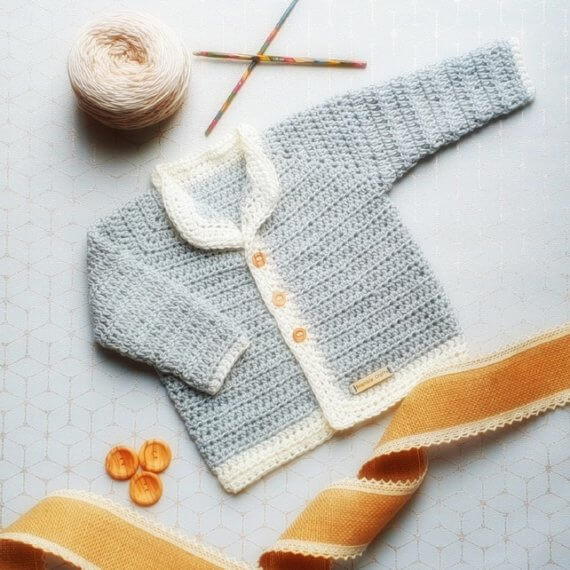 A vegan crochet jumper for newborn royal baby