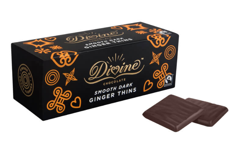 Vegan Chocolate Divine Dark Chocolate Ginger Thins