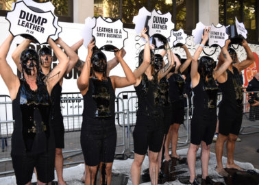 PETA Supporters Stage 'Dirty' Leather Protest at London Fashion Week