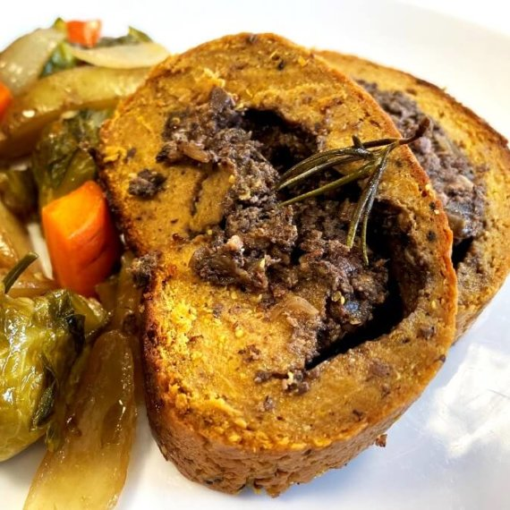 Seitan Roast Stuffed With Mushrooms and Mixed Nuts