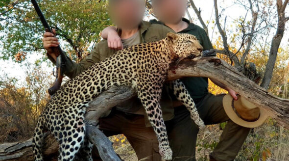 Image shows hunters posing with dead animal