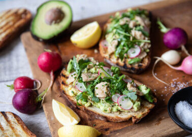 Vegan Tuna and Avocado Toast with Rocket Salad