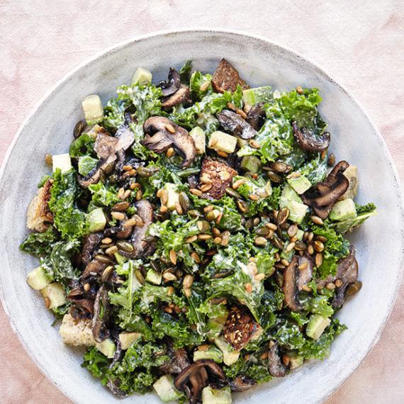 Creamy Kale and Mushroom Salad by Deliciously Ella